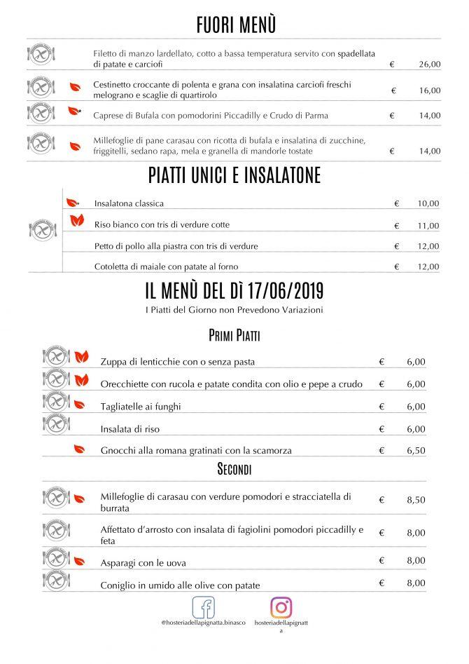 Il menù di oggi 17 Giugno - prenota online